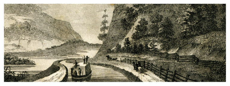 The Erie Canal meeting at the noses historic lithograph